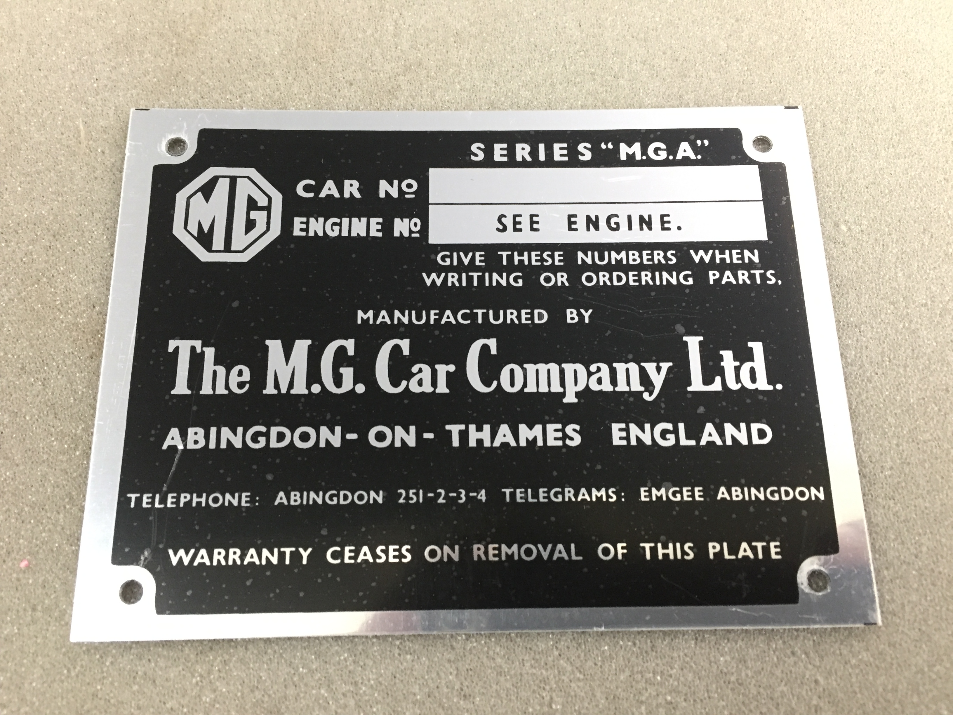 Vehicle Plate MG MGA MGB MGTD Rocker Cover Chassis